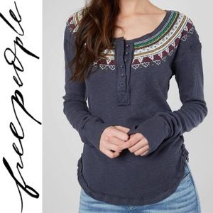 NEW Fair Isle Thermal Henley Embroidered Top Small